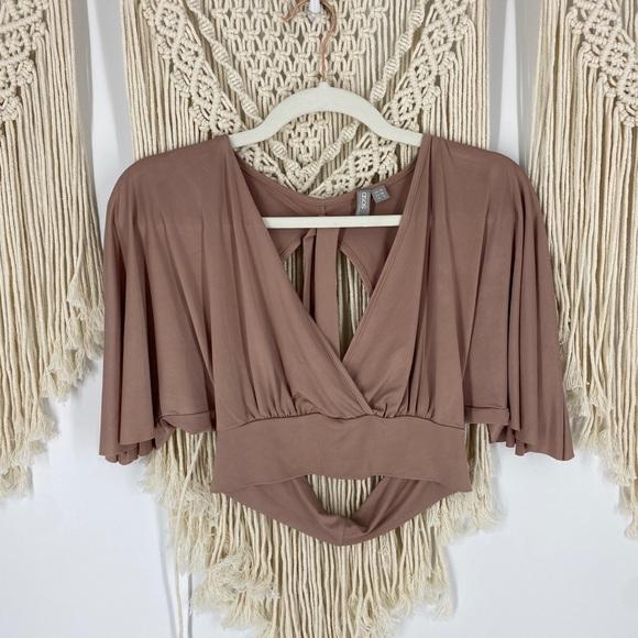 ASOS Open Back Wrap V-Neck Crop Top Kimono Sleeve